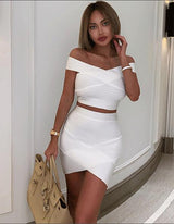 White Off The Shoulder Top & Skirt Bandage Set