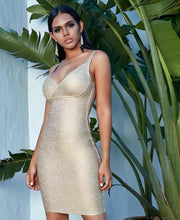 Gold V Neck Bandage Dress - LeeFed