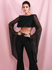 Black Mesh Trumpet Crop Top & Flared Trousers - LeeFed