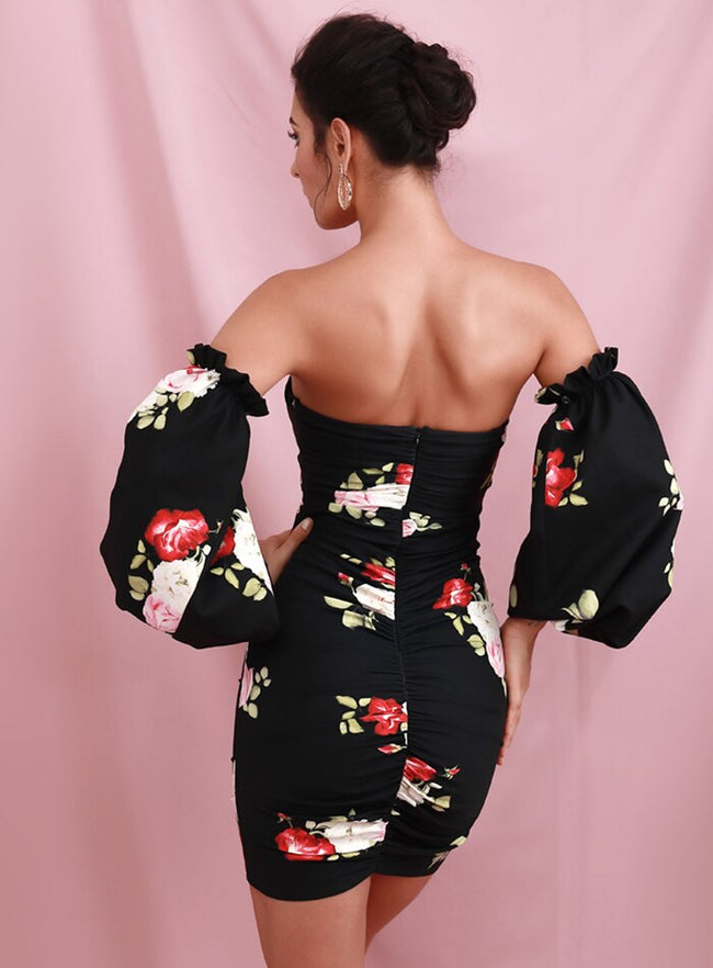 Black Floral Puff Sleeve Bodycon Dress - LeeFed