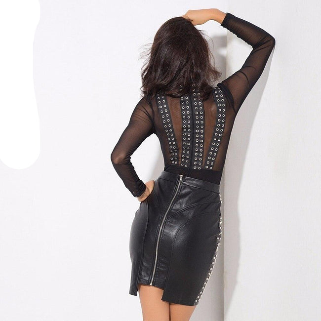 PU Leather Studded Willow Skirt