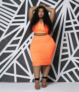 Orange Vest Top & Midi Bodycon Skirt