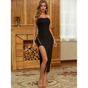 Black Button Down Mid Calf Bandage Dress - LeeFed