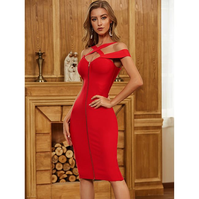 Red Zipper Hollow Out Bandage Dress - LeeFed