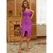 Purple Deep V Neck Slash Bandage Dress - LeeFed