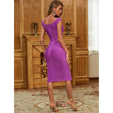 Purple Deep V Neck Slash Bandage Dress - Myleefed