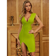 Green Deep V Neck Bandage Dress - LeeFed