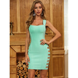 Green Sleeveless Hollow Out Bodycon Dress - Myleefed