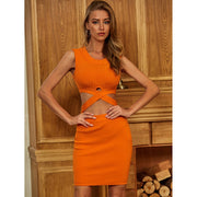 Orange Cut Out Bodycon Dress - LeeFed