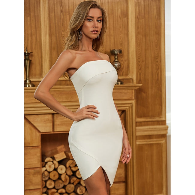 White Off Shoulder Bodycon Dress - LeeFed