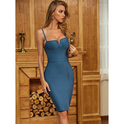 Blue Sleeveless Backless Bodycon Dress - LeeFed