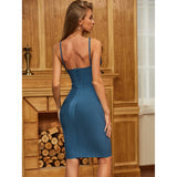 Blue Sleeveless Backless Bodycon Dress - Myleefed