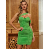 Green One Shoulder Mesh Ruched Bodycon Dress - LeeFed