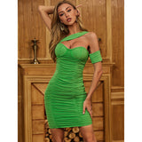 Green One Shoulder Mesh Ruched Bodycon Dress - Myleefed
