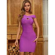 Purple Off Shoulder Key Hole Bandage Dress - LeeFed