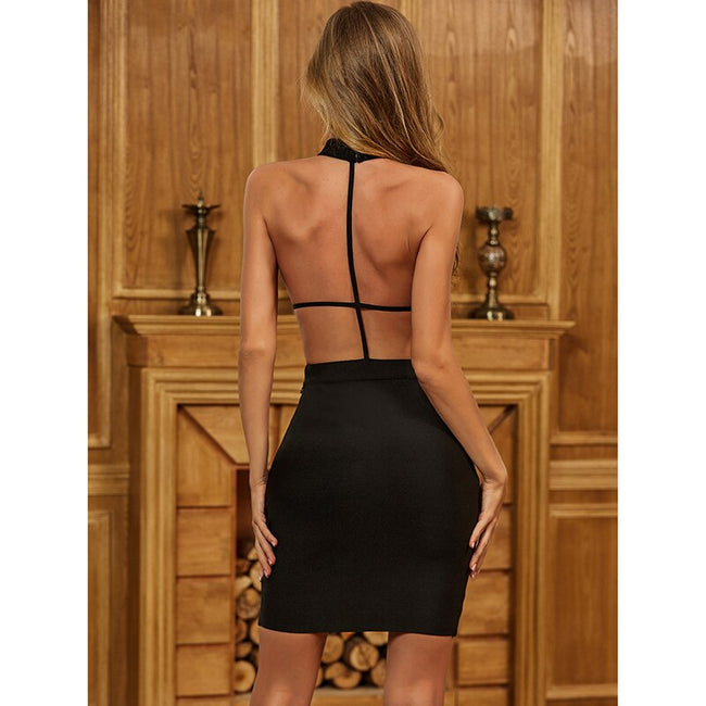 Black Backless Bandage Dress - LeeFed