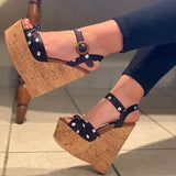 Polka Dot Peep Toe Platform Wedges