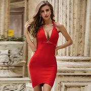 Red V Neck Halter Backless Bodycon Dress - LeeFed