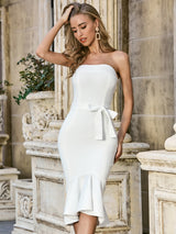 White Strapless Mermaid Bodycon Dress - LeeFed