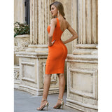 Orange One Shoulder Mesh Bodycon Dress - LeeFed