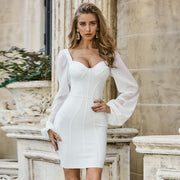 White V Neck Bodycon Dress - LeeFed