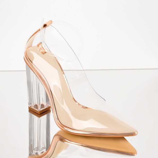 Clear Pointed Toe Chunky High Heels Pumps - Myleefed