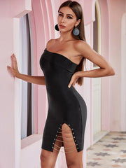 Black One Shoulder Split Chain Bandage Dress
