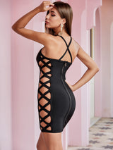Black Keyhole Hollow Out Bandage Dress - Myleefed