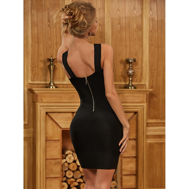 Black Hollow Out Backless Bodycon Bandage Dress