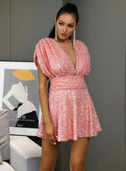 Pink V Neck A Line Sequin Dress