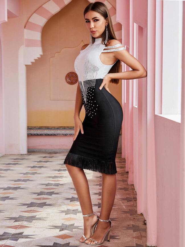 Halter Neck Crystal Bandage Dress