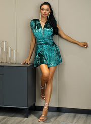 Deep V Neck A Line Velvet Mini Dress