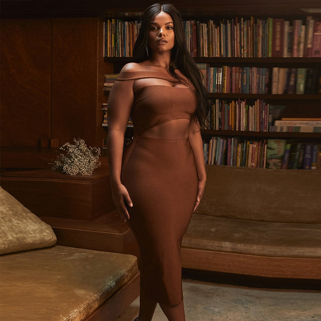 Brown Cross Strap Sleeveless Bandage Dress
