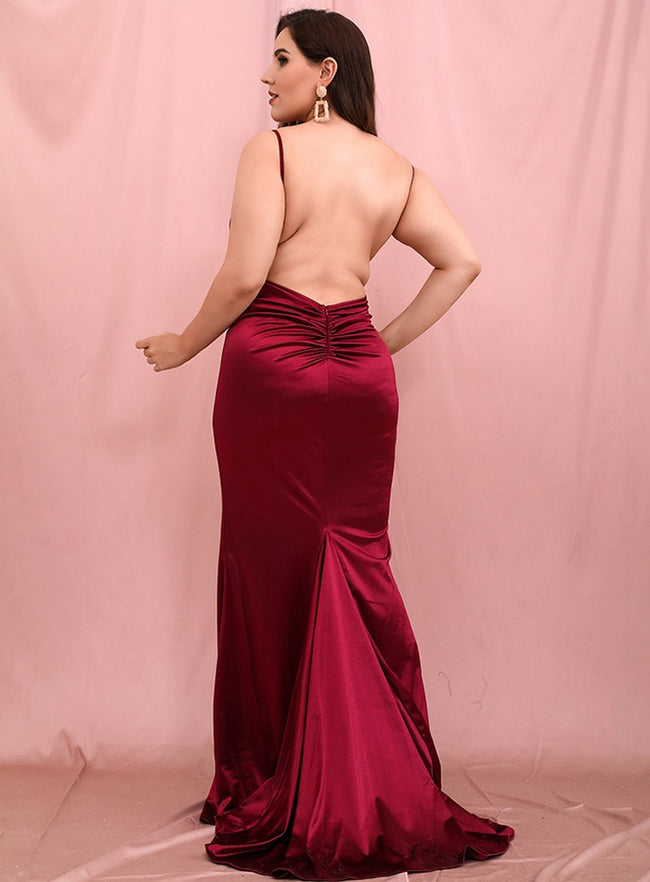 Deep V-Neck Open Back Split Maxi Dress
