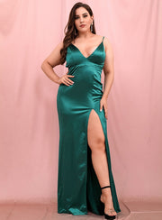 Green Deep V Neck Satin Maxi Dress