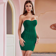 Green Strapless Bandage Dress