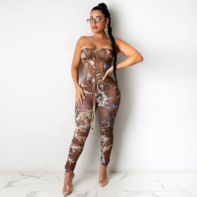 Lace Up Cold Shoulder Bodycon Jumpsuit