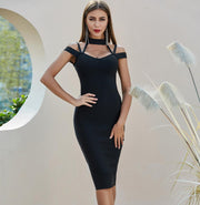 Black Halter Neck Cross Shoulder Bandage Dress
