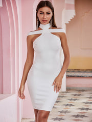 White Halter Neck Cross Shoulder Bandage Dress