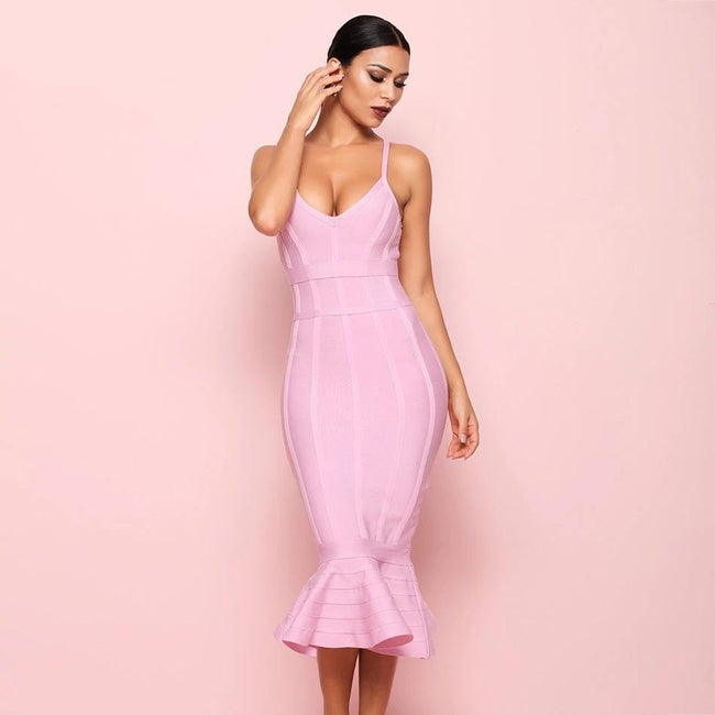 Single Straps Bandage Mermaid Dress - LeeFed