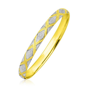 10K Two-Tone Gold Geometric Diamond Motif Bangle Select Size / White And Yellow Gold Bangles