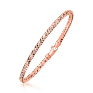 14K Rose Gold Fancy Weave Motif Bangle Select Size / Gold Bangles