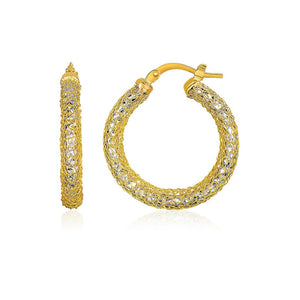 14K Two-Tone Yellow And White Gold Sparkle Texture Hoop Earrings Yellow Gold