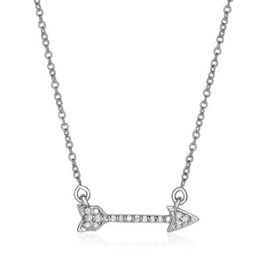 14K White Gold 18 Inch Necklace With And Diamond Arrow (1/10 Ct. Tw.) Necklaces