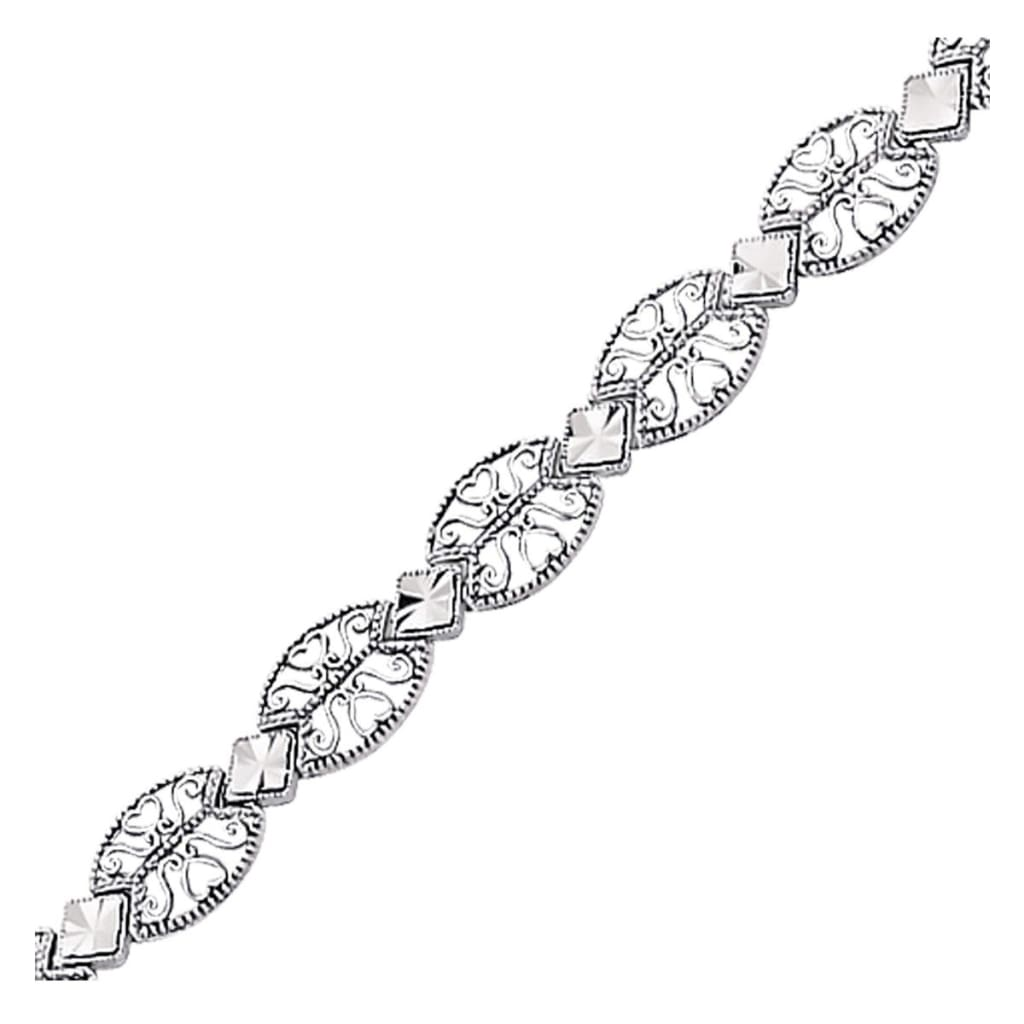 14K White Gold Antique Vintage Look Filigree Oval Link Bracelet Select Size / White Gold Bracelets
