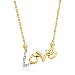 14K Yellow Gold 18 Inch Necklace With Gold And Diamond Love Symbol Necklaces