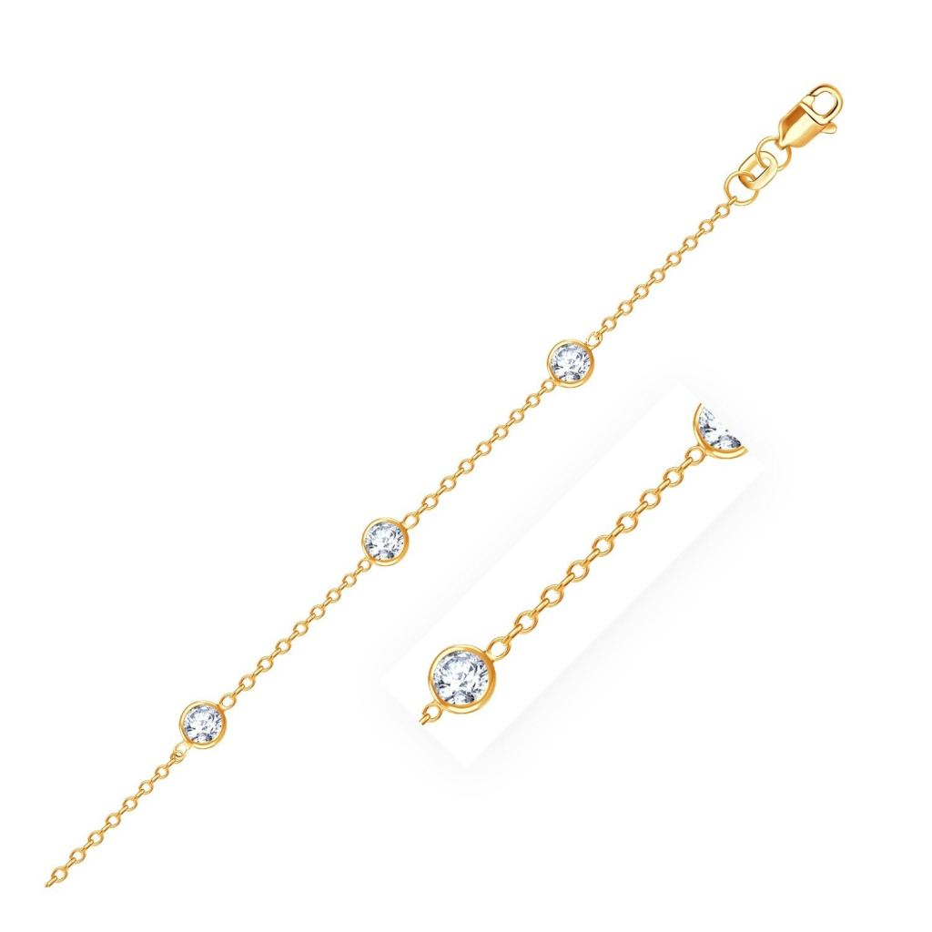 14K Yellow Gold Anklet With Round White Cubic Zirconia Select Size / Gold Anklets