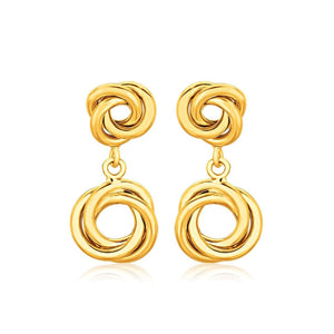 14K Yellow Gold Love Knot Stud Earrings With Drops Gold