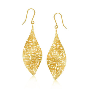 14K Yellow Gold Marquise Motif Lace Like Drop Earrings