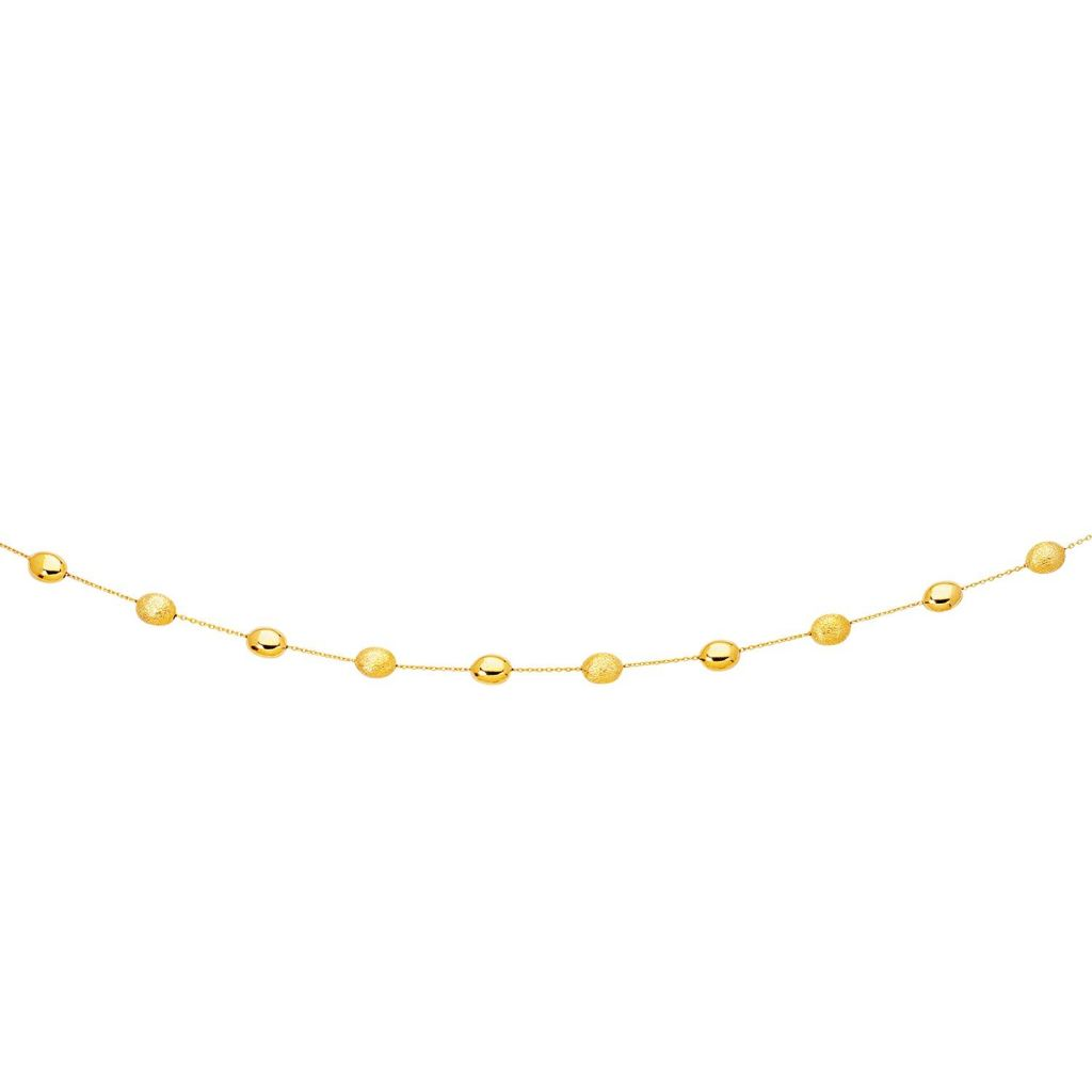 14K Yellow Gold Necklace With Polished And Textured Pebble Stations Select Size / Gold Necklaces